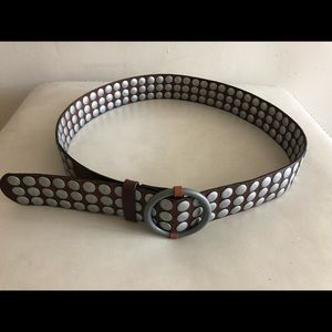 Accessories - Studded wide leather buckle belt
